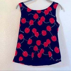 Ann May Silk Cherry patterned top small